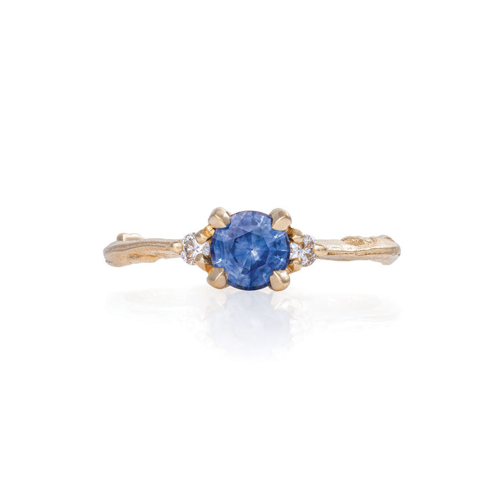 Love Is All - 14k Gold Twig Band Blue Sapphire & Diamond Ring