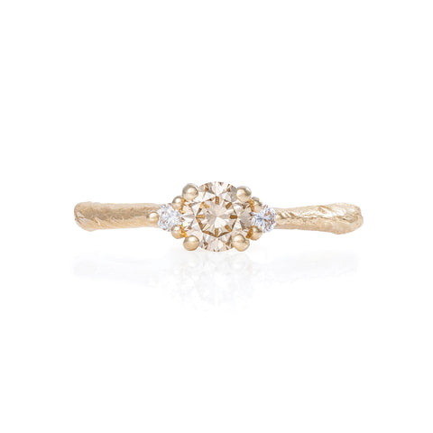 Solid Gold Love is All - Champagne Diamond Ring