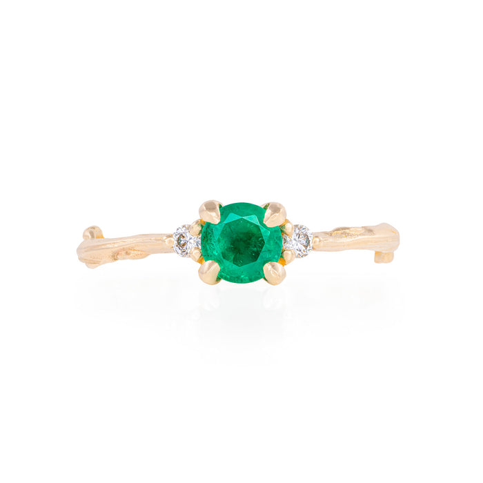 Love is All - 14k Gold Twig Band Emerald & Diamond Ring