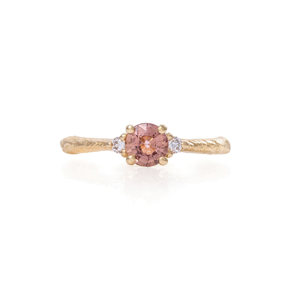 Chupi - Magenta Sapphire & Classic Diamond Engagement Ring - Polished Band - Love is All