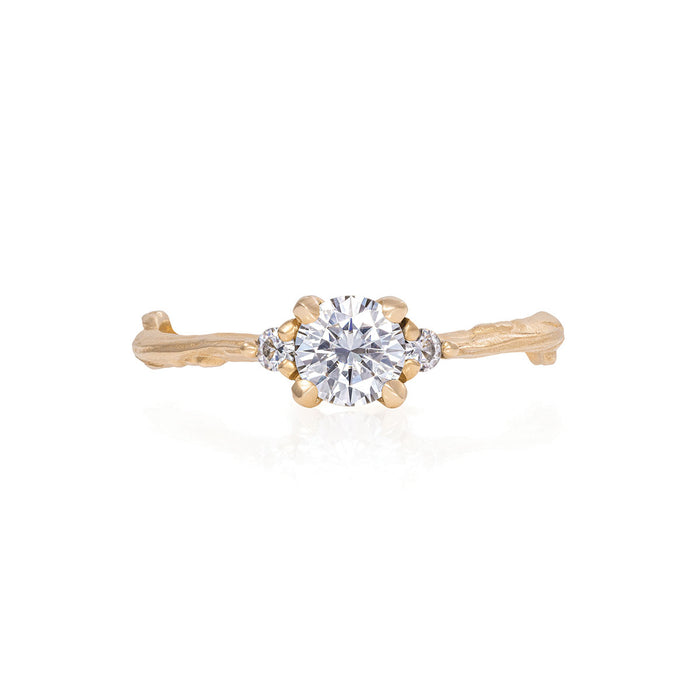 Love is All - 14k Gold Twig Band Moissanite & Diamond Ring
