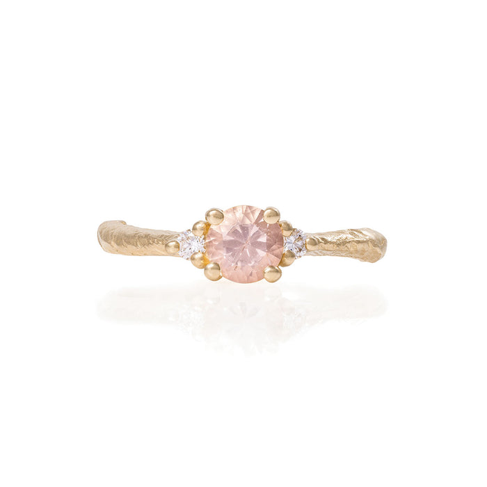 Solid Gold Love is All - Morganite & Classic Diamond Ring