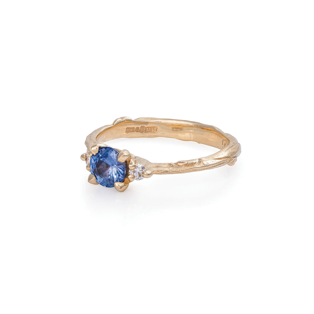 Solid Gold Love Is All - Blue Sapphire & Diamond Ring