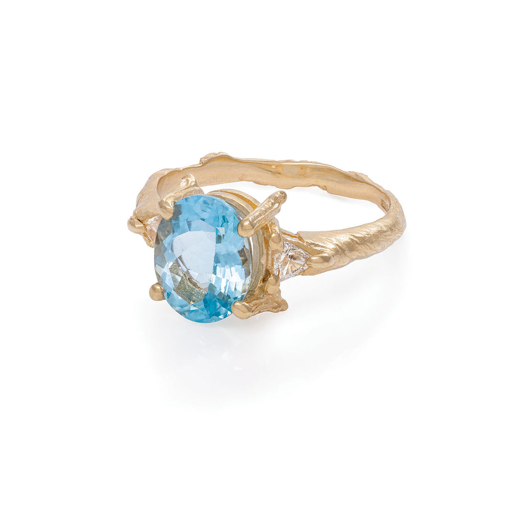 Chupi - Aquamarine & Classic Diamond Engagement Ring - One in a Trillion - Twig Band