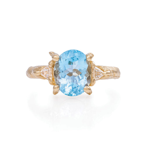 image of Solid Gold One In A Trillion - Aquamarine & Diamond Ring