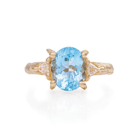Solid Gold One In A Trillion - Aquamarine & Diamond Ring