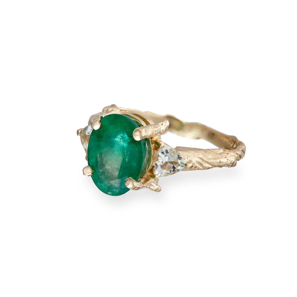 image-Solid Gold One In A Trillion Emerald & Prasiolite Ring