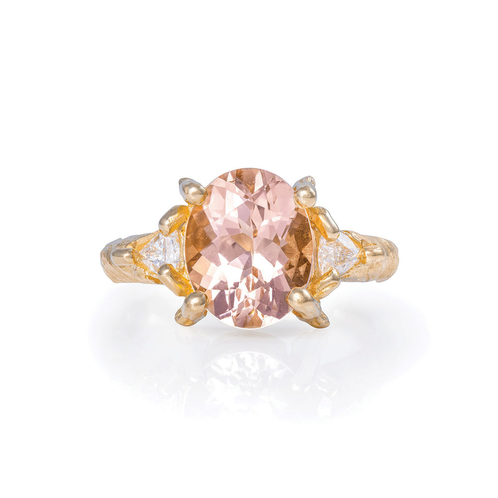Solid Gold One In A Trillion - Morganite & Diamond Ring