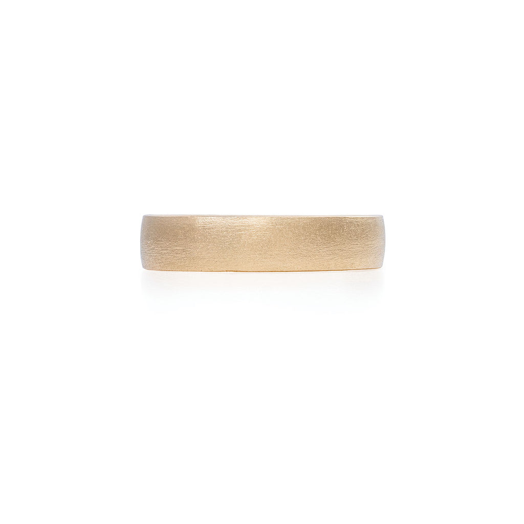 Chupi - Polished Hawthorn Bark Wedding Band - Wide - Solid Gold Ring