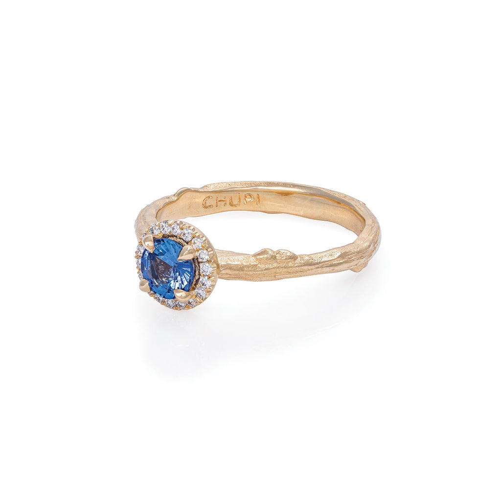 Solid Gold Queen of Hearts - Round Half Carat Blue Sapphire