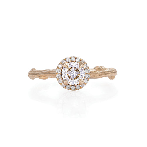 image of Solid Gold Queen of Hearts - Half Carat Classic Diamond Halo Ring