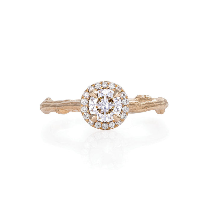 Solid Gold Queen of Hearts - Half Carat Classic Diamond Halo Ring