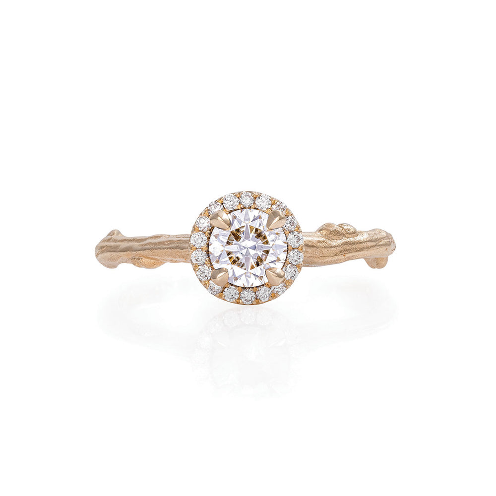 Queen of Hearts - 14k Gold Twig Band 0.5ct Lab-Grown Diamond Halo Ring