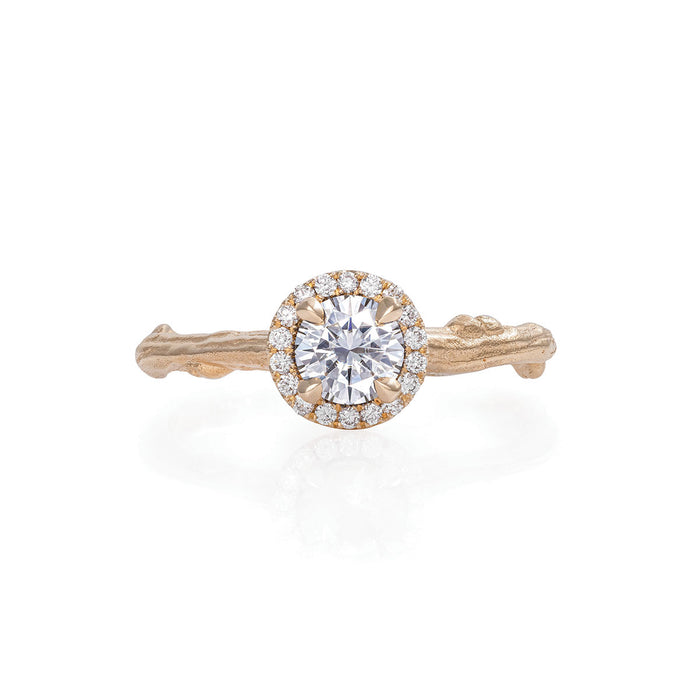 Solid Gold Queen of Hearts - 5mm Moissanite Halo Ring