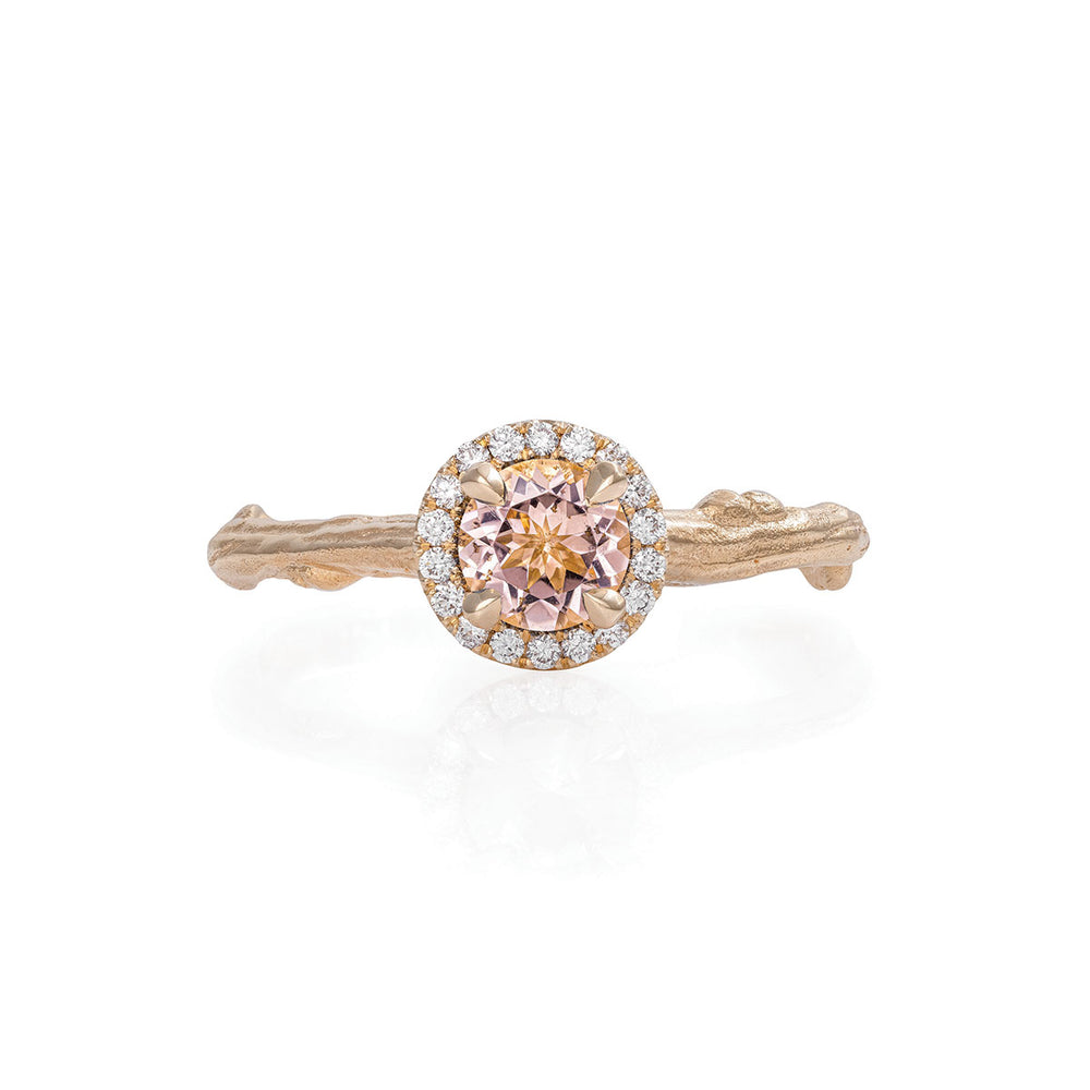 Solid Gold Queen of Hearts - Half Carat Morganite Halo Ring