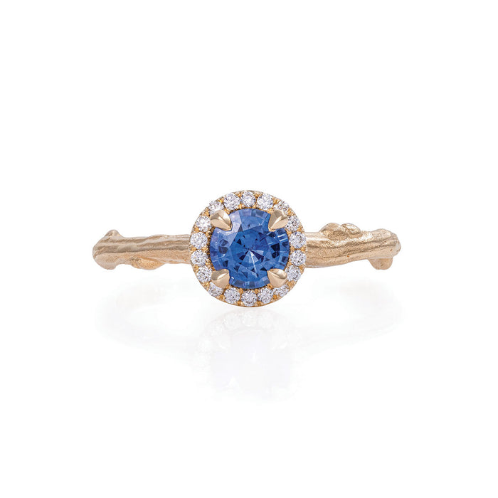 Queen of Hearts - 14k Gold Twig Band 0.5ct Blue Sapphire Halo Ring