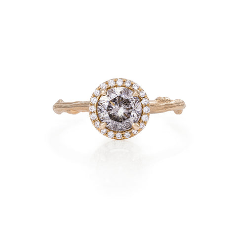 Solid Gold Queen of Hearts - One Carat Grey Diamond Halo Ring