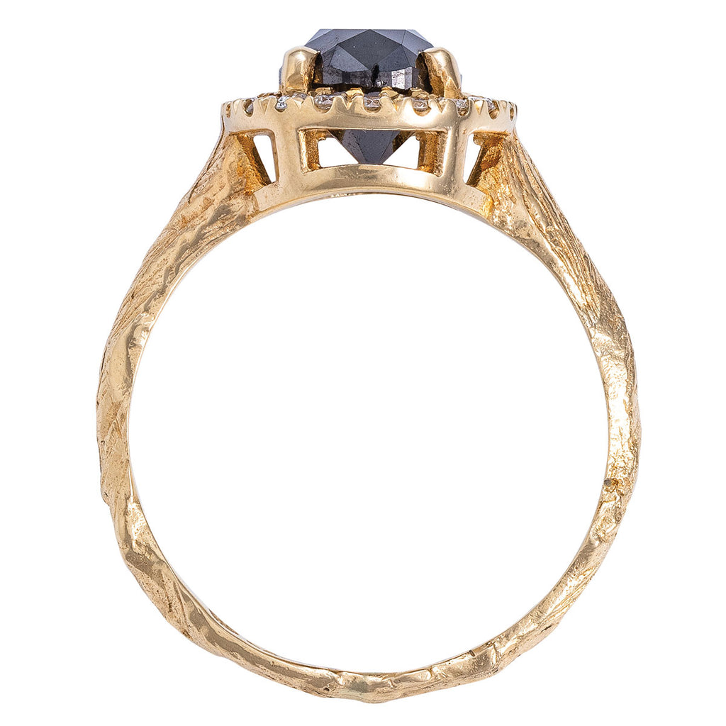 Solid Gold Queen of Hearts - Oval Black Diamond Halo Ring