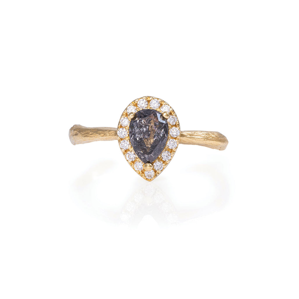 Chupi - Grey Diamond Halo Engagement Ring - Pear Shape - Queen of Hearts