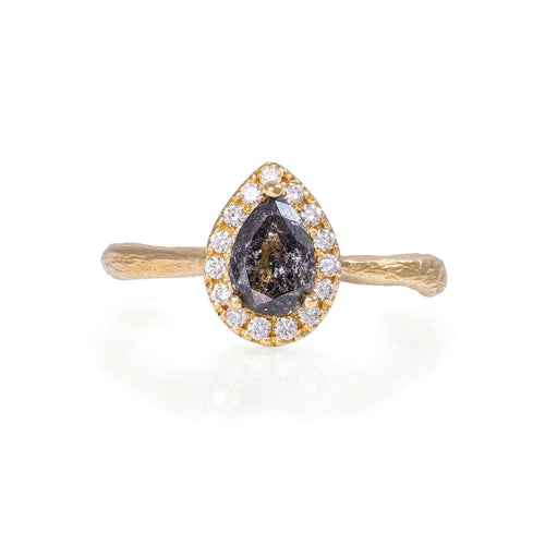 image of Solid Gold Queen of Hearts - Pear One Carat Grey Diamond Halo Ring