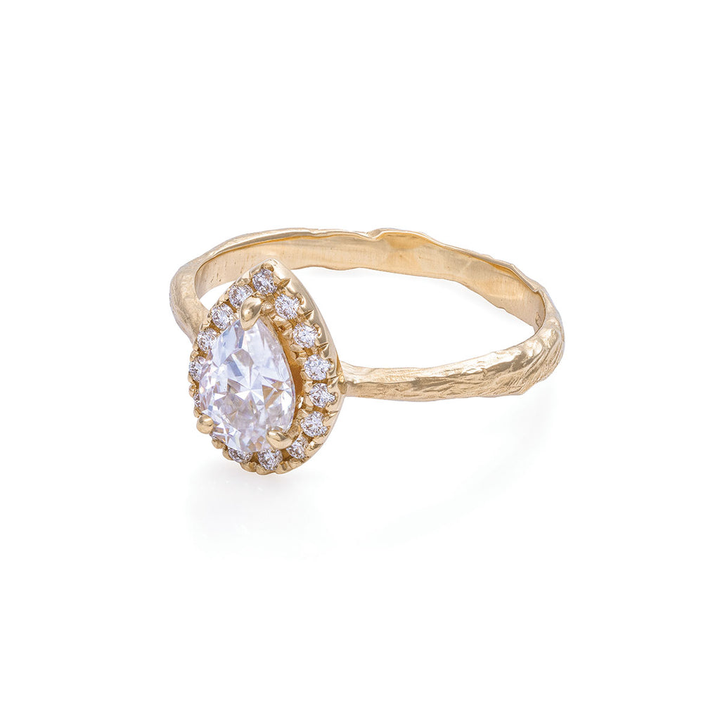 Chupi - Moissanite Halo Engagement Ring - Pear Shape - Queen of Hearts