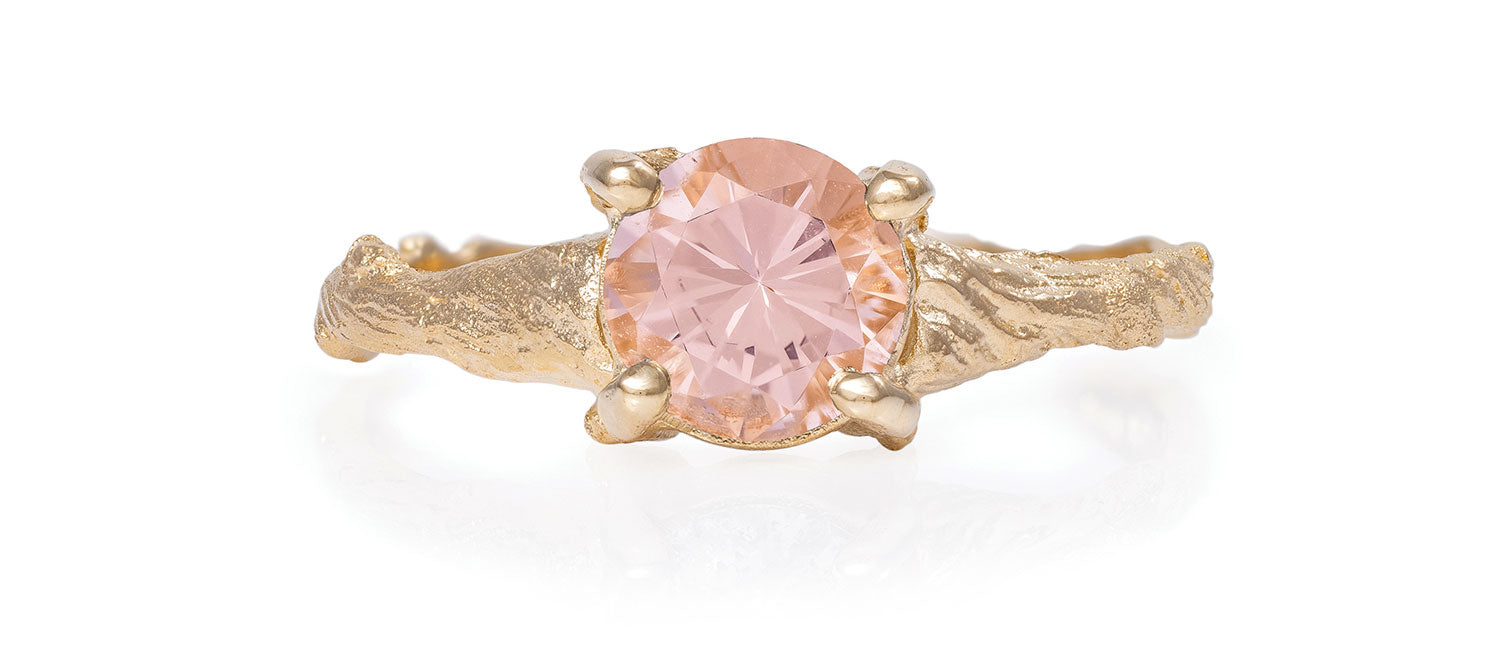 Chupi - Morganite Engagement Ring - One Carat Twig Band - Sparkle in the Wild