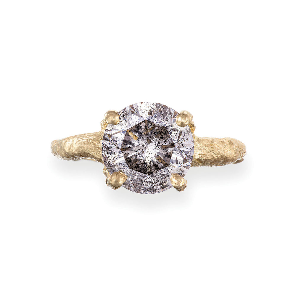 Solid Gold Sparkle In The Wild - Three Carat Grey Diamond Ring