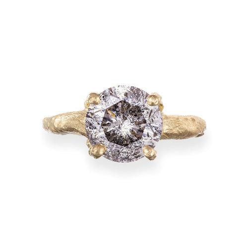 image of Solid Gold Sparkle In The Wild - Three Carat Grey Diamond Ring
