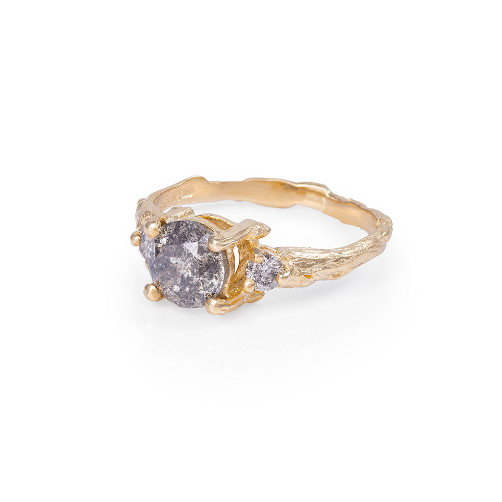 Solid Gold You Me & Magic - One Carat Grey Diamond Ring