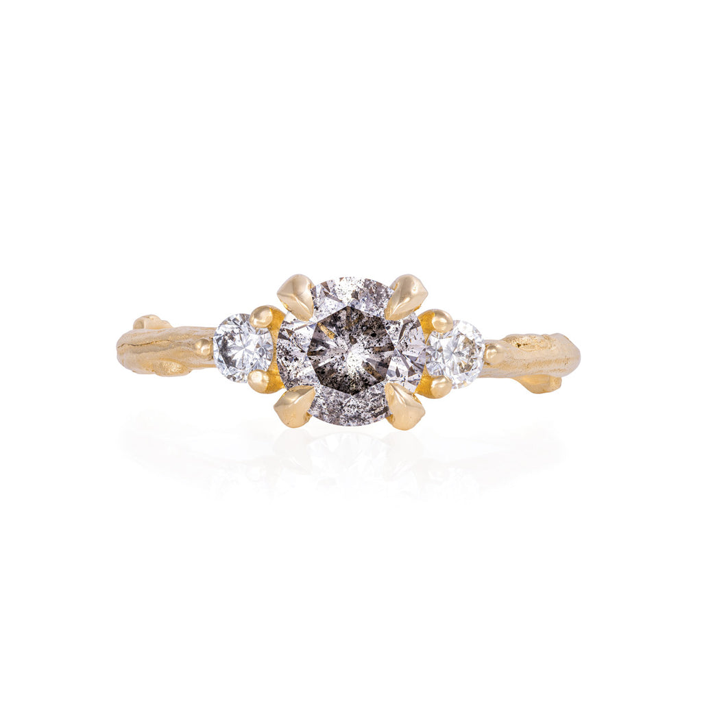 Chupi - Grey Diamond & Classic Diamond Engagement Ring - One Carat Twig Band - You Me & Magic - Solid Gold
