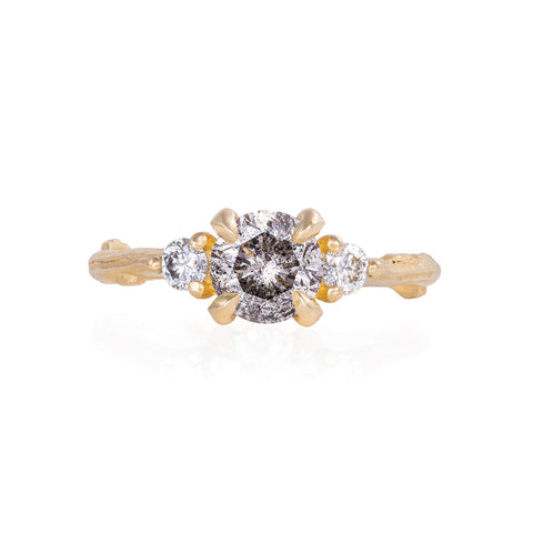 Solid Gold You Me & Magic - One Carat Grey Diamond & Classic Diamond Ring