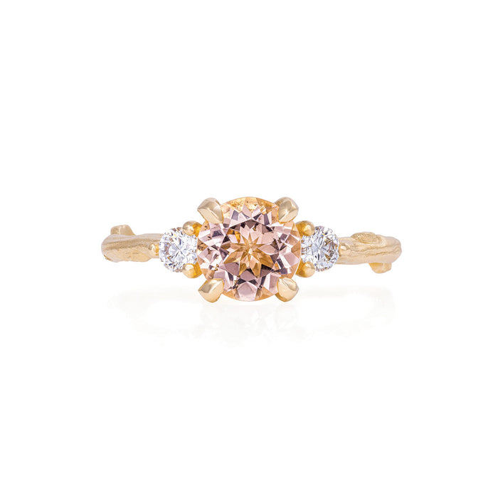Solid Gold You Me & Magic - One Carat Morganite & Classic Diamond Ring