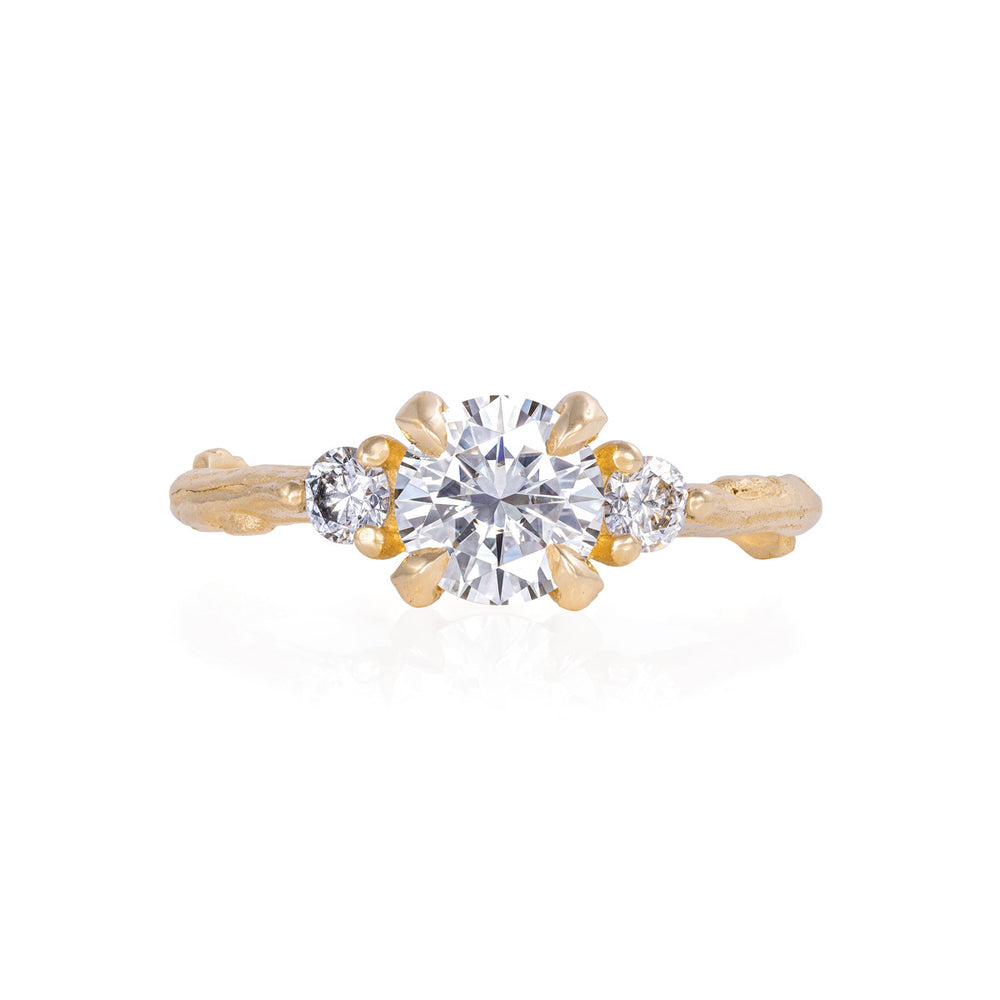 Solid Gold You Me & Magic - 6.5mm Moissanite & Classic Diamond Ring