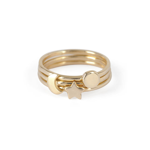 Chupi - Stacking Ring Gift Set - Solid Gold You Are My Sun Moon and Stars