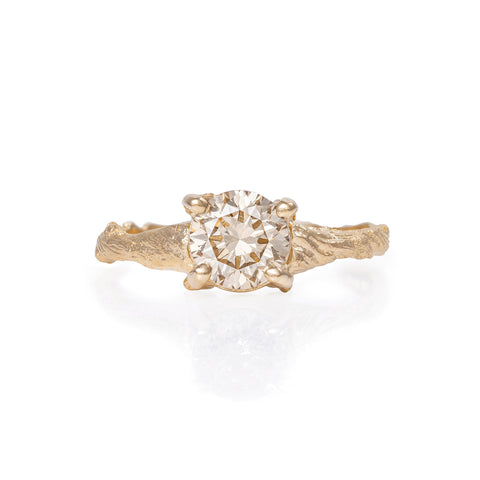 Solid Gold Sparkle in the Wild - One Carat Champagne Diamond Ring