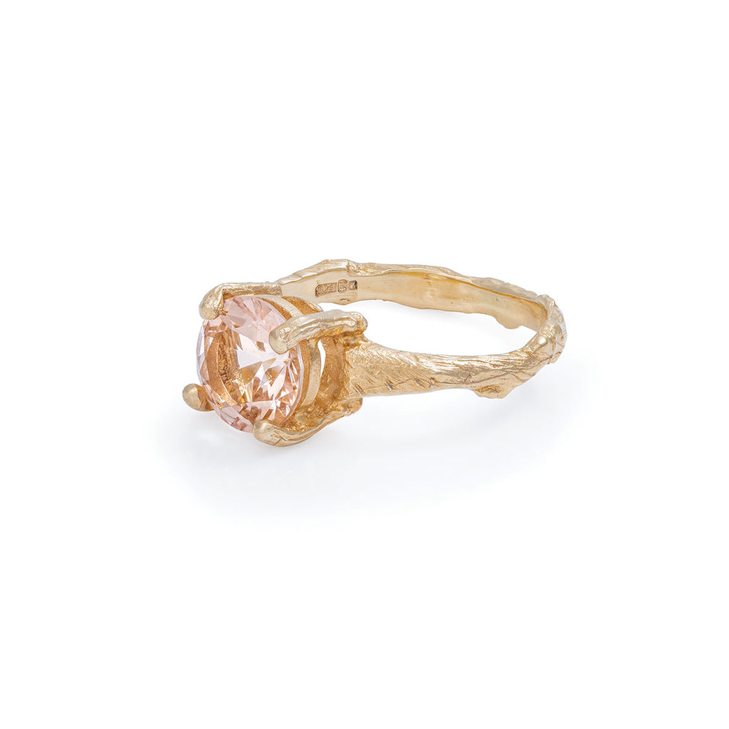 Chupi - Morganite Engagement Ring - Two Carat Twig Band - Sparkle in the Wild