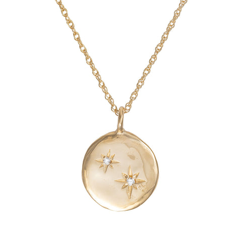 Chupi - Two Diamond Disc Necklace - Stars in the Sky Solid Gold