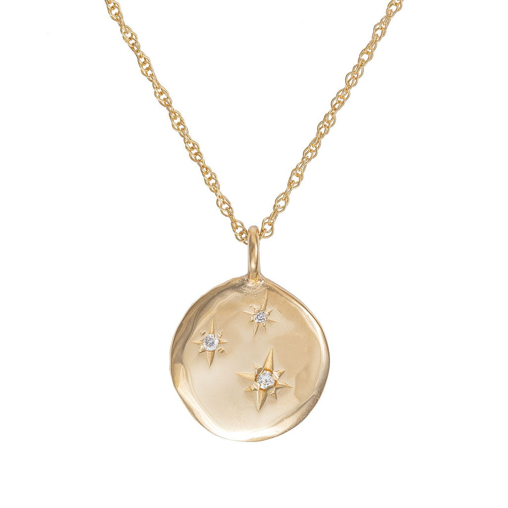 image-Solid Gold Stars in the Sky Disc Three Diamond Necklace