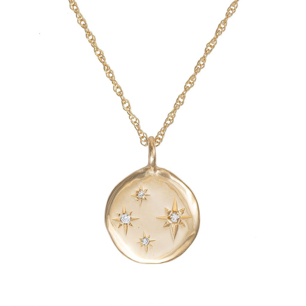 image-Solid Gold Stars in the Sky Disc Four Diamond Necklace