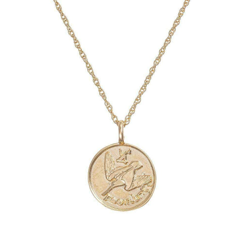 Chupi - Coin Necklace 1930 Farthing - Worth Your Weight in Gold - Solid Gold Necklace