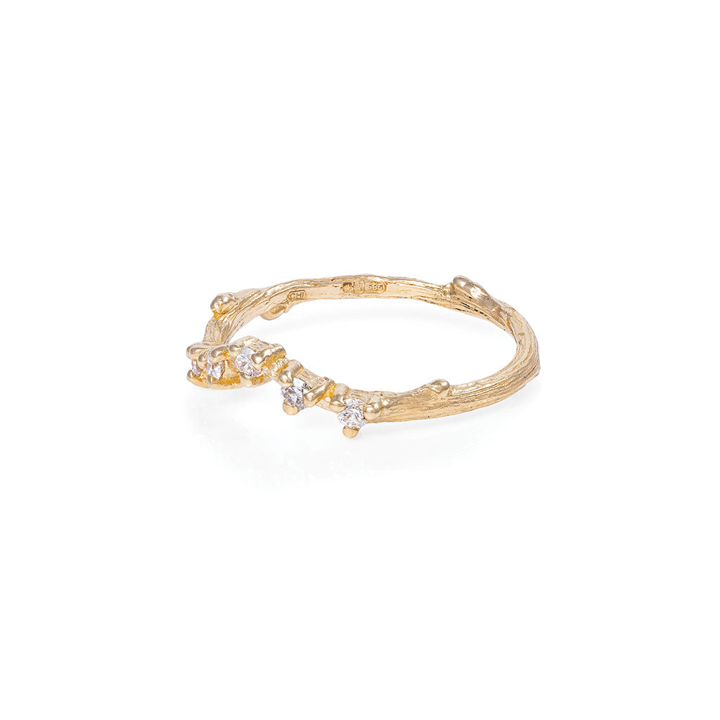 image-Solid Gold Written in the Stars Band Ring Classic Diamond