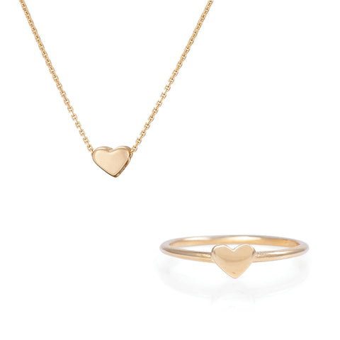 Chupi - Solid Gold Gift Set - You Are My Heart Necklace & Ring