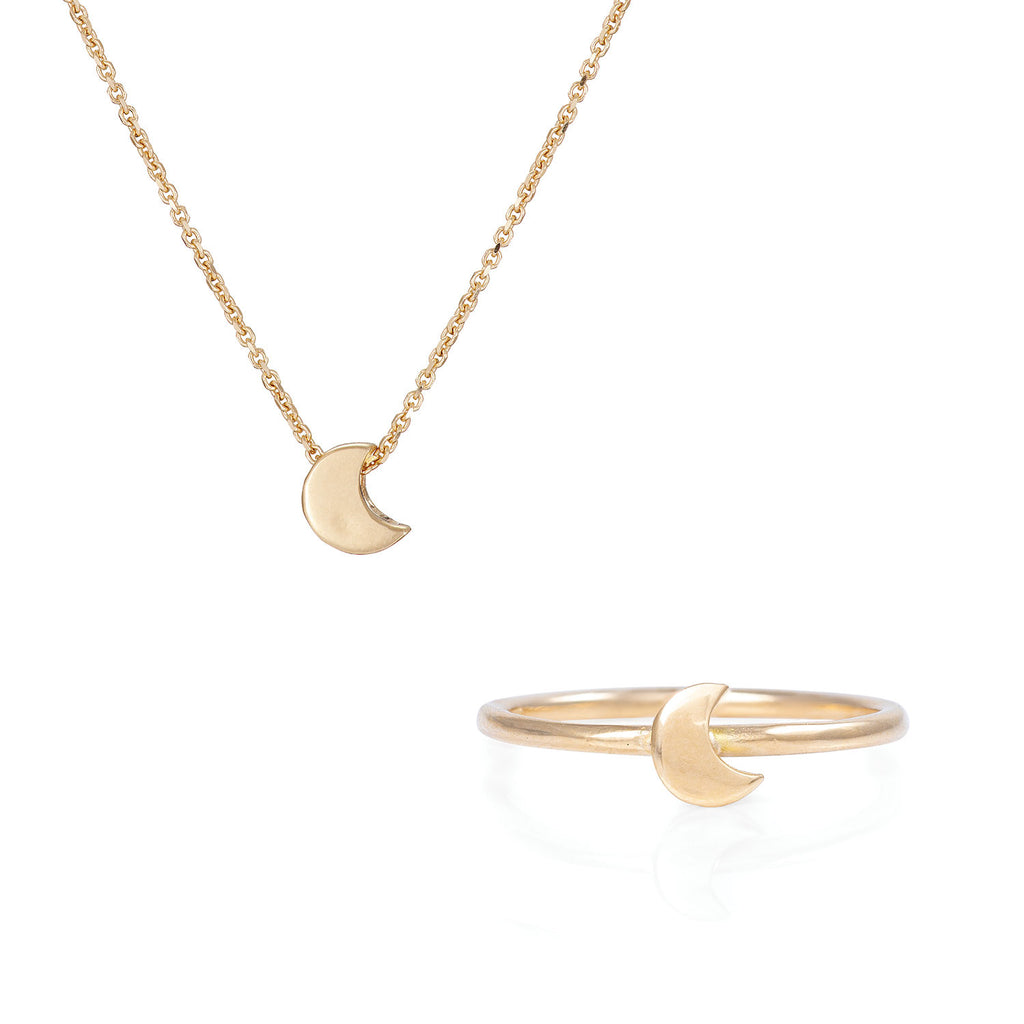 image-Solid Gold You Are The Moon Necklace & Ring Gift Set