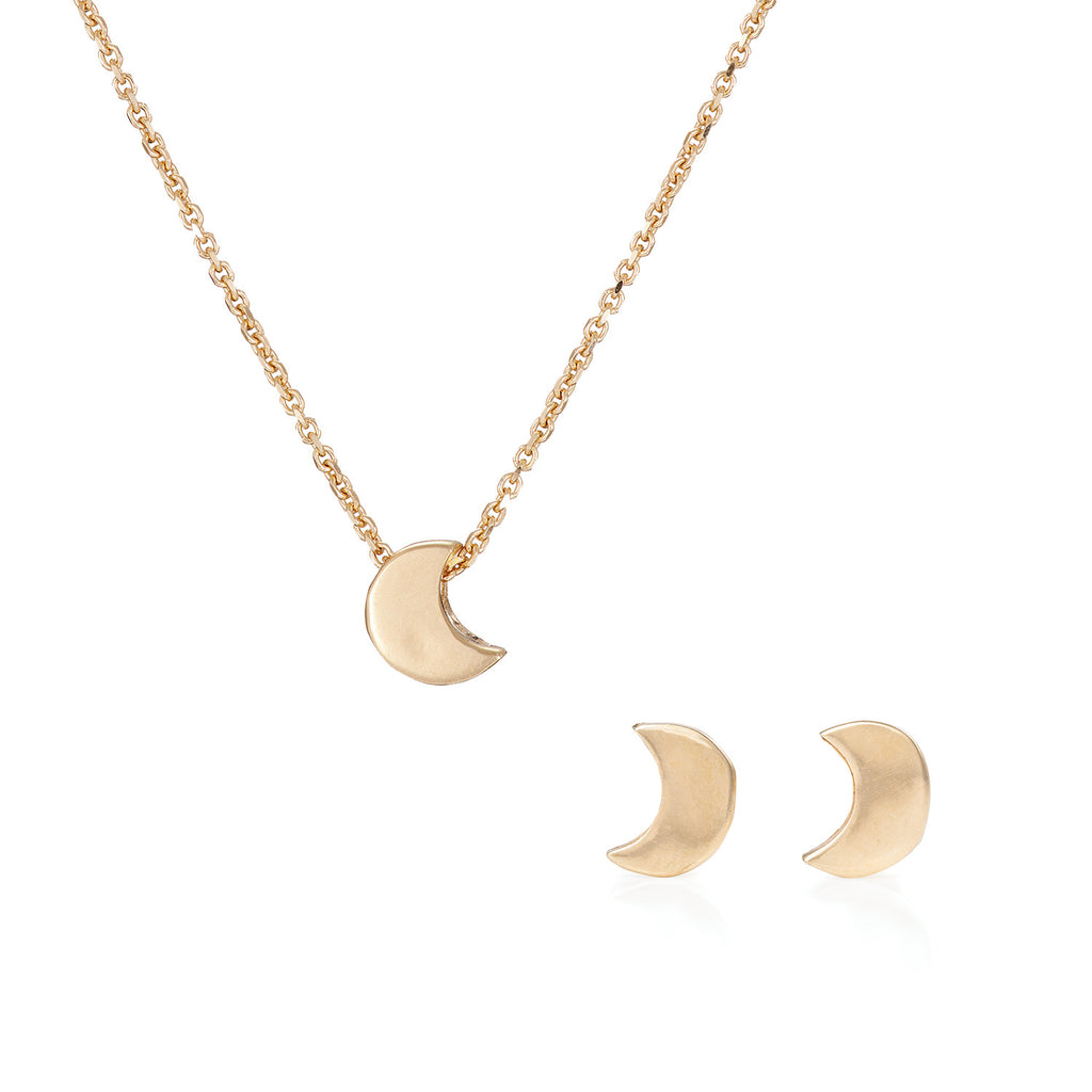 image-Solid Gold You Are The Moon Necklace and Earrings Gift Set