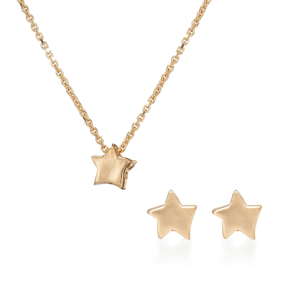 image-Solid Gold You Are The Star Necklace and Earrings Gift Set