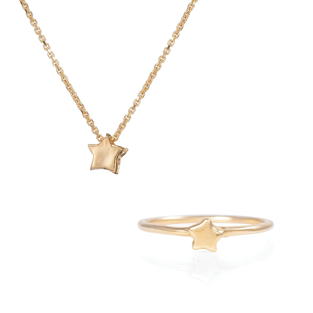 image-Solid Gold You Are The Star Necklace & Ring Gift Set