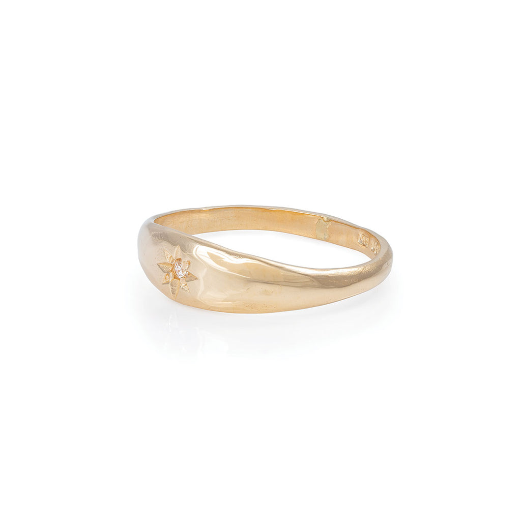 image-Solid Gold North Star Tiny Signet Ring