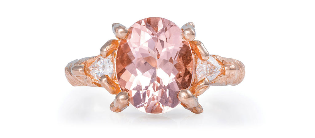 Chupi - Morganite & Classic Diamond Engagement Ring - Solid Rose Gold - Twig Band One in a Trillion