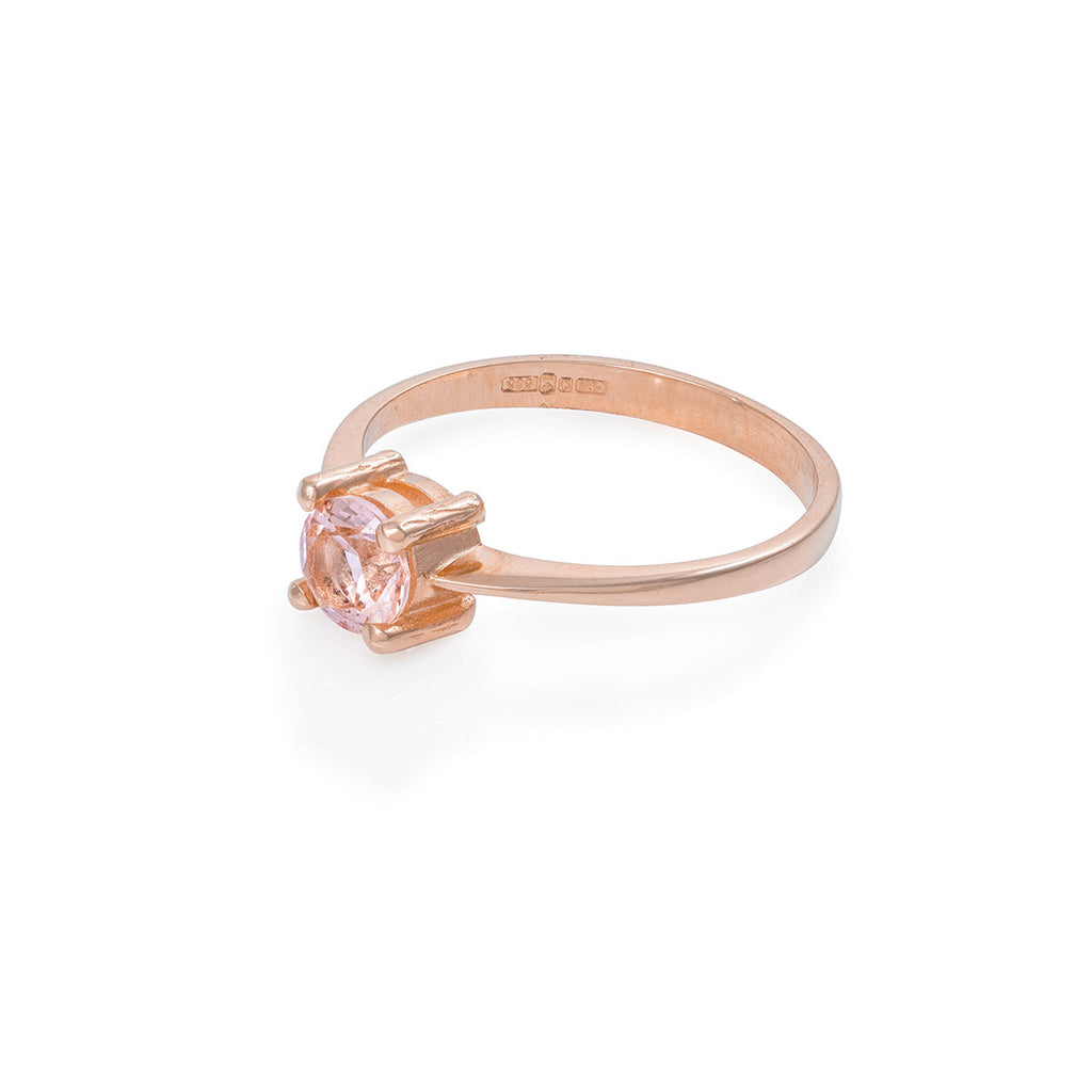 image-Solid Rose Gold Darling in the Wild - Morganite Polished Band Ring