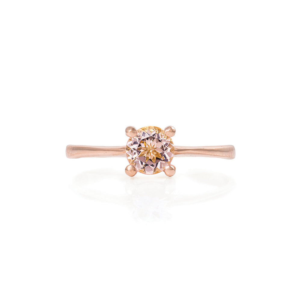 Solid Rose Gold Darling in the Wild - Morganite Polished Band Ring